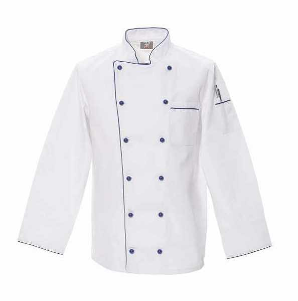 Chefkochjacke weiß mit blauer Paspel