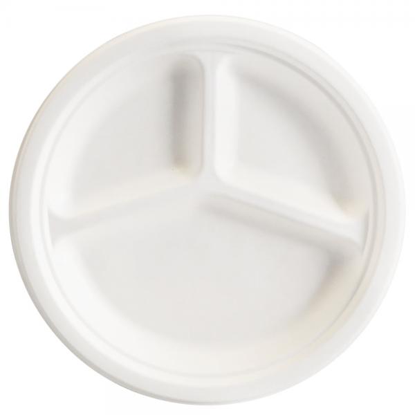 Bio-Teller weiß 3-geteilt rund Ø 26,3 cm