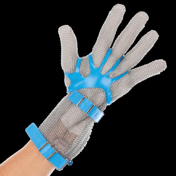 Stechschutz Kettenhandschuh mit Stulpe 8 cm silber