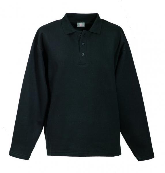 Langarm Polo-Sweat-Shirt schwarz FAPAK