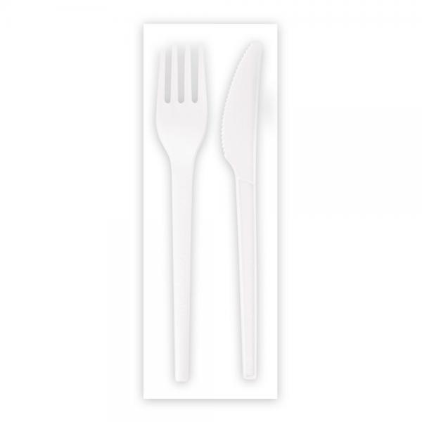 Besteck-Set C-PLA 16,5 cm, weiß