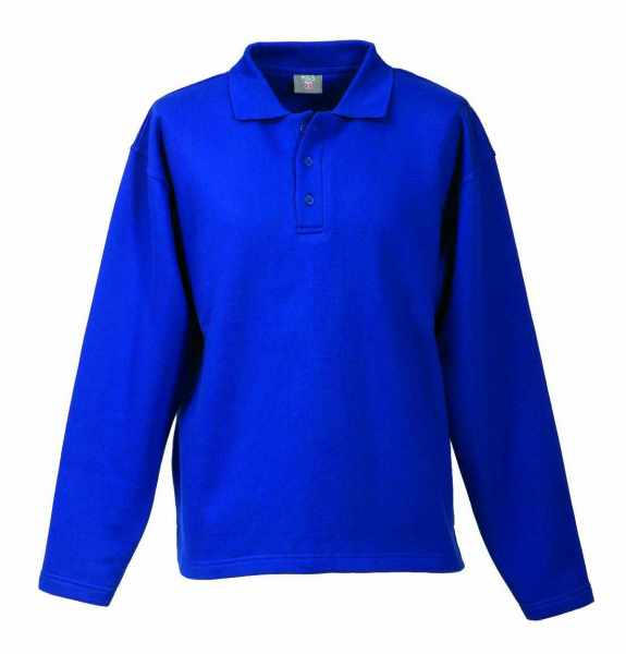 Langarm Polo-Sweat-Shirt royalblau