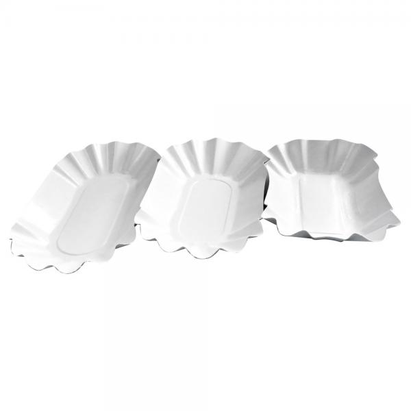 Pappschale | Pommesschale 10,5 x 17,5 x 3 cm, weiß