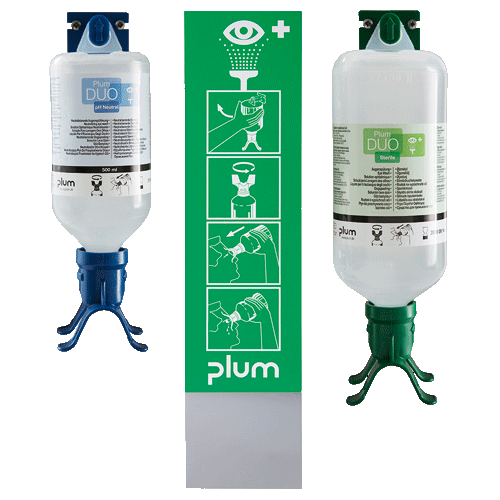 Augen-Notfallstation mit je einer DUO Augenspülflasche