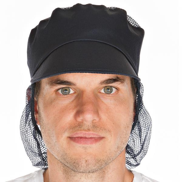 Schildmütze blau mit Haarschutz und Netzteil