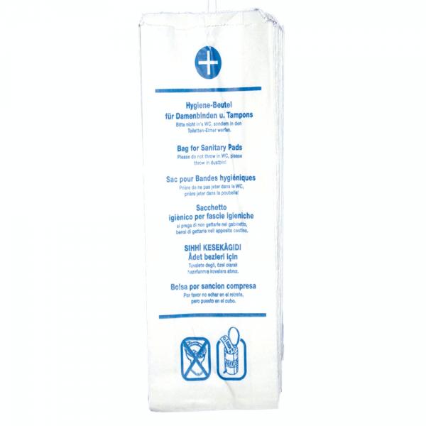 Hygienebeutel aus Papier 29 x 12 x 4,5 cm weiß