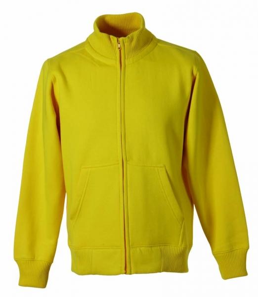 Stehkragen-Sweat-Jacke gelb