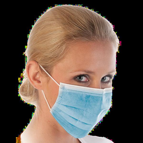 Mundschutz mit Gummibändern, 3-lagig, blau