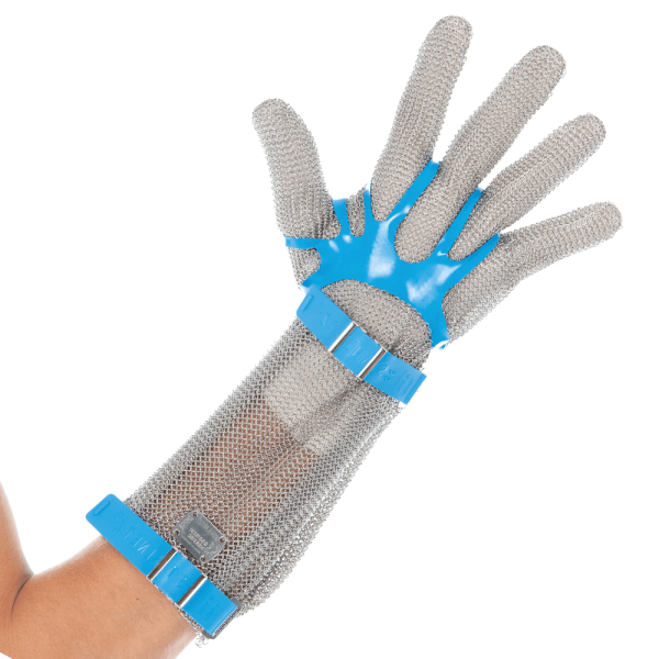 Stechschutz Kettenhandschuh mit Stulpe 15 cm silber