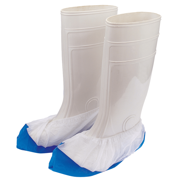 Schuhüberzieher mit CPE-Sohle, blau-weiß