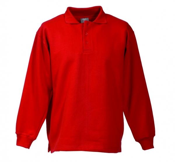 Langarm Polo-Sweat-Shirt rot