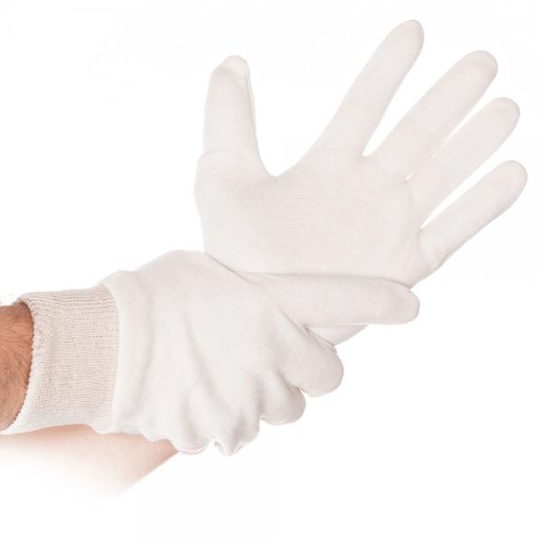 Baumwoll-Handschuh BÜNDCHEN L, 26 cm, natur