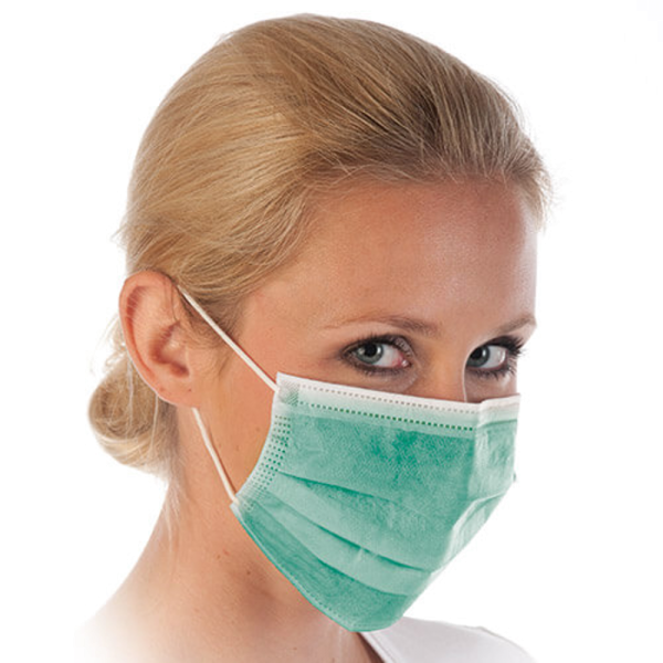 Mundschutz mit Gummibändern, 3-lagig, grün