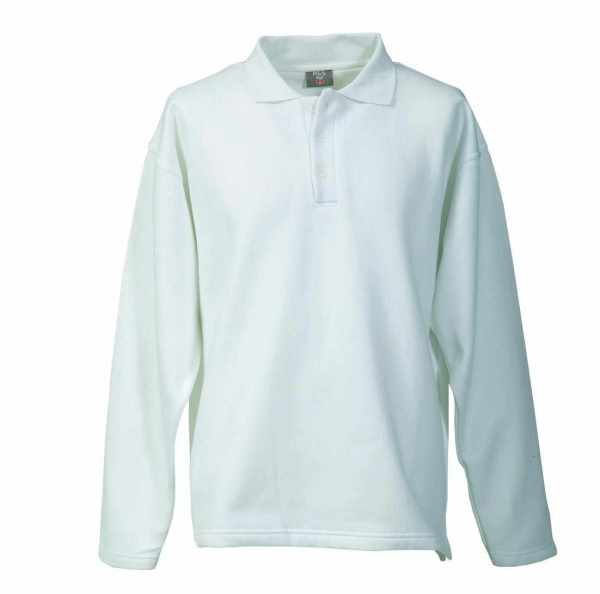 Langarm Polo-Sweat-Shirt weiß