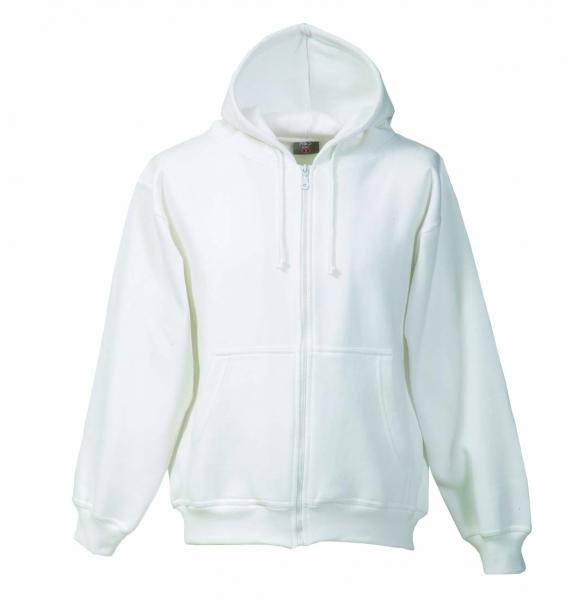 FaPak Sweatshirtjacke mit Kapuze weiß von MS-Textilhandel