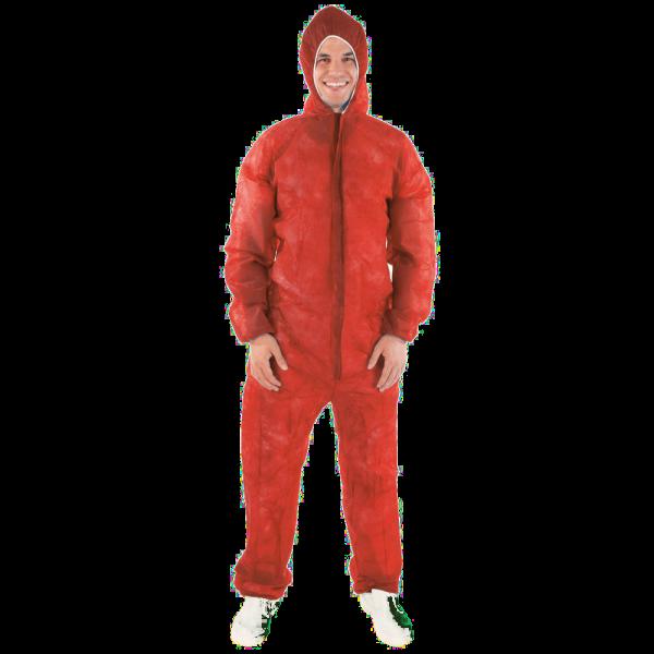 Overall mit Kapuze, leichte Qualität, rot