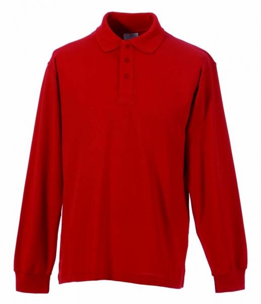 Langarm Polo-Shirt rot