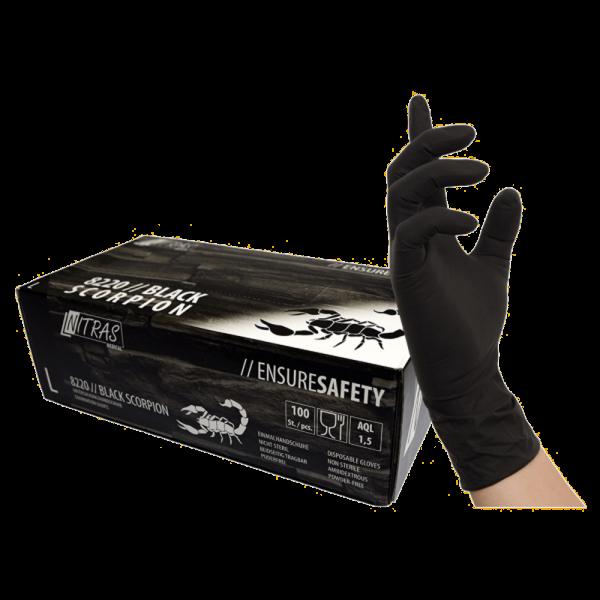 NITRAS BLACK SCORPION, Latex-Einmalhandschuhe, schwarz, unsteril, puderfrei,