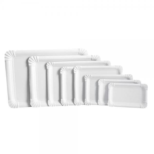 Pappteller - rechteckig 16,5 x 20 cm, weiß